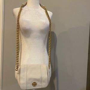 Tory Burch ivory crossbody bag with chain strap